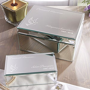 Personalized Keepsake Mirrored Jewelry Box - In Loving Memory - 12652