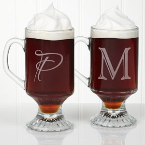 Personalized Glass Mug Set - Initial Monogram - 12662