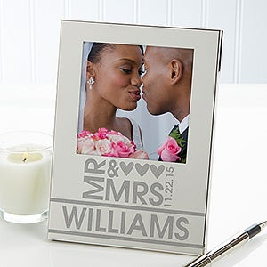 Personalized Silver Wedding Picture Frames - Mr & Mrs - 12688