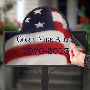 Personalized American Flag Memorial Stake - 12704