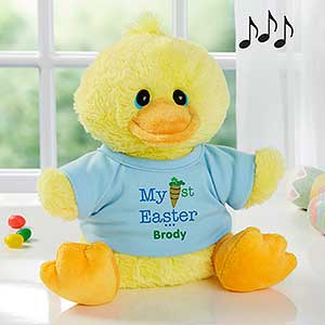 Personalized easter duck stuffed animal for boys my first easter personalized stuffed easter duck my first easter 12709 negle Choice Image