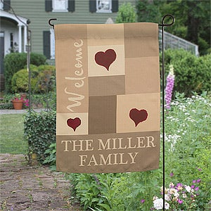 Personalized Family Garden Flag - Loving Hearts - 12750
