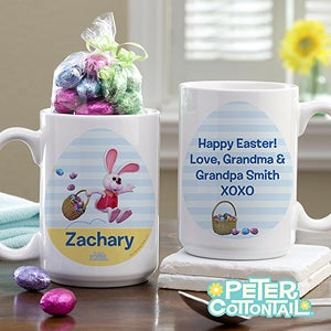 Personalized Peter Cottontail Easter Mug with Chocolate Eggs - 12757
