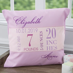 Personalized Baby Birth Pillows for Girls - 12786