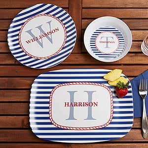Personalized Melamine Dishes - Nautical Design - 12823D