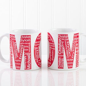 personalized ladies coffee mug repeating names for her