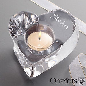 Personalized Crystal Candle Holder for Her by Orrefors - 12886