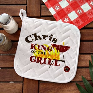 Personalized BBQ Grill Aprons & Potholders - King Of The Grill - 12890