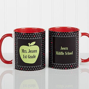 Personalized Teacher Coffee Mugs - Green Apple - 12925