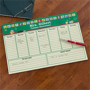 Personalized Teacher's Desk Pad Weekly Planner - 12932
