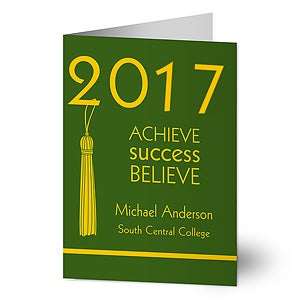 Personalized Graduation Greeting Cards - Achieve, Success, Believe - 12956