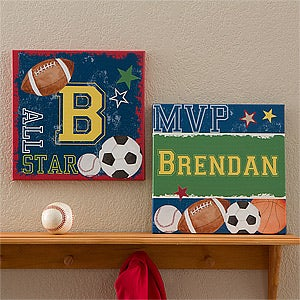 Personalized Boys Bedroom Canvas Art - Sports - 12971