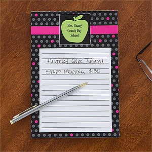 Personalized Teacher Notepads - Green Apple - 12978