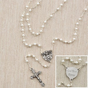 Personalized First Communion Rosary for Girls - Pearl