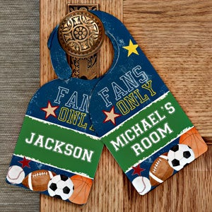 Personalized Boy's Bedroom Door Hanger - Sports - 12999