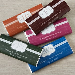 Monogrammed Wedding Favor Candy Bar Wrappers - 13029