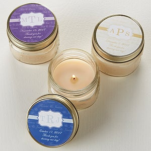 Personalized Candle Wedding Favors - Wedding Monogram - 13032
