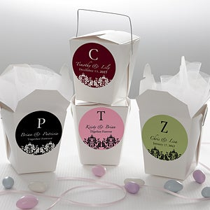 Personalized Wedding Favor Stickers - Damask Monogram - 13035
