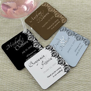Personalized Wedding Favor Coasters - Wedding Couple - 13038
