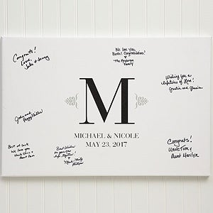 Personalized Wedding Signature Canvas Print - Guest Book - 13042