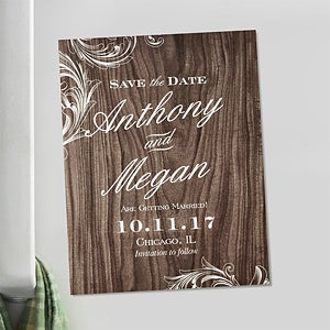 Personalized Wedding Save The Date Cards & Magnets - Wood Carving - 13045