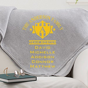 Personalized Family Throw Blankets - Team Roster - 13056