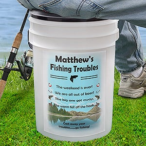 Personalized Bucket Cooler - Fishing Troubles - 13057