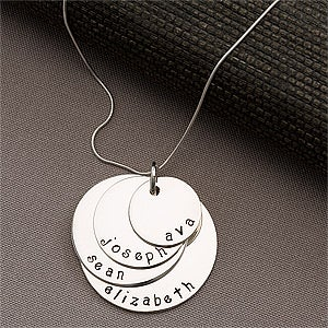 Personlized Kids Names Stacking Disc Necklace For Mom 4