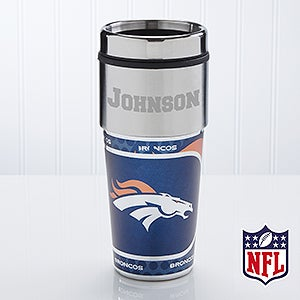 Personalized Denver Broncos NFL Football Travel Mugs - 13123