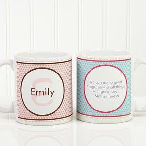 Personalized Coffee Mugs - Polka Dot Monogram - 13137