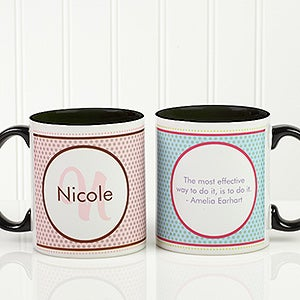 Personalized Coffee Mugs - Polka Dot Monogram - 13137