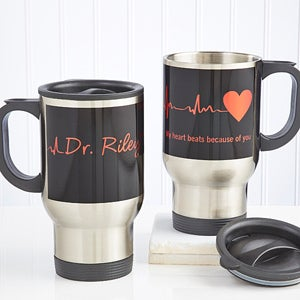 Personalized Doctor Travel Mugs - Heart of Caring - 13143