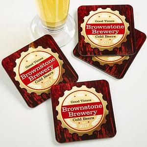 Personalized Bar Coaster Set - Premium Brew - 13150