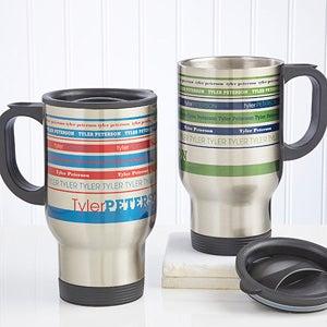 Personalized Travel Mugs - Signature Stripe - 13166