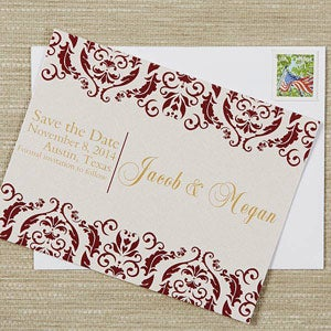 Personalized Wedding Save The Date Cards - Classic Damask - 13174