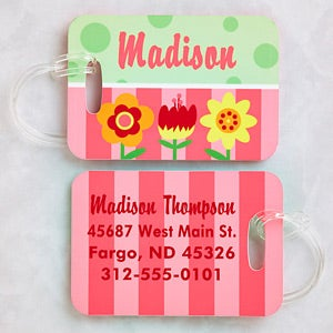 Personalized Girls Luggage Tag Set - Flowers - 13181