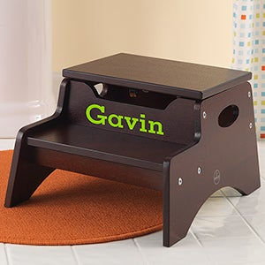 Personalized Kids Step Stool - Step u0026 Store - 13191D & Personalized Step Stools for Kids - Espresso - Kids Gifts islam-shia.org