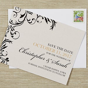 Personalized Save The Date Cards - Deluxe Scroll - 13219