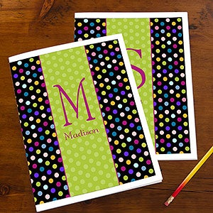 Personalized Girls Folders - Polka Dots - 13223
