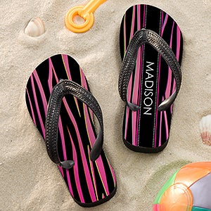 Personalized Girls Flip Flop Sandals - Animal Print - 13225