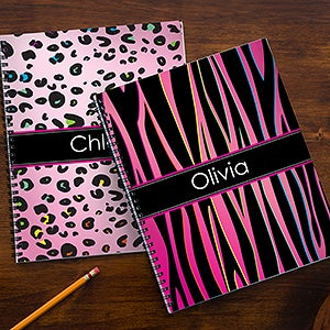 Personalized School Notebooks - Animal Print - 13226