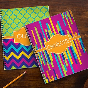 Personalized notebooks for girls bright cheerful for Art and craft file cover decoration