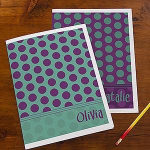 Personalized School Folders - Trendy Polka Dots - 13248