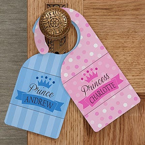 Personalized Kids Room Door Knob Hangers - Jr Royalty - 13283