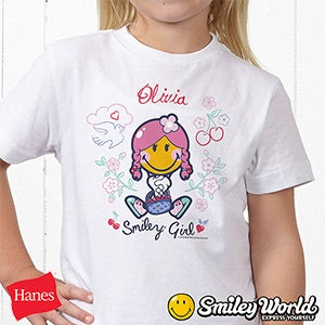 Personalized Girls Shirts - Smiley Girl - 13299