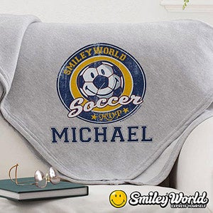 Personalized Blankets - Smiley Sport Sweatshirt Blanket - 13303