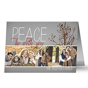 Personalized Photo Christmas Cards - Holiday Peace - 13330