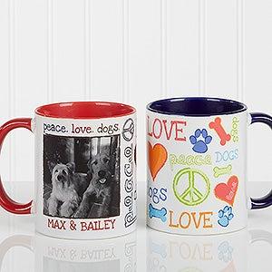 Personalized Pet Coffee Mugs - Peace, Love, Dogs - 13349