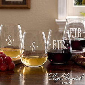 Personalized Monogram Stemless Wine Glass Set - Luigi Bormioli - 13361