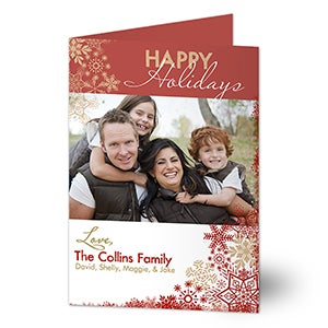 Personalized Photo Christmas Cards - Snowflake Greetings - 13366
